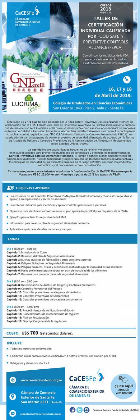 Taller de certificaci�n individual calificada por Food Safety Preventive Controls Alliance (FSPCA). POSTERGADO