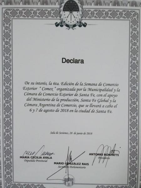 Declaraci�n de Inter�s de la C�mara de Diputados de la Provincia de Santa Fe