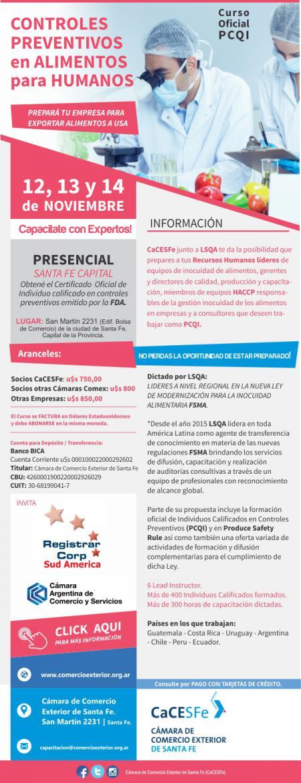 Curso Oficial  PCQI CONTROLES PREVENTIVOS en ALIMENTOS para HUMANOS
