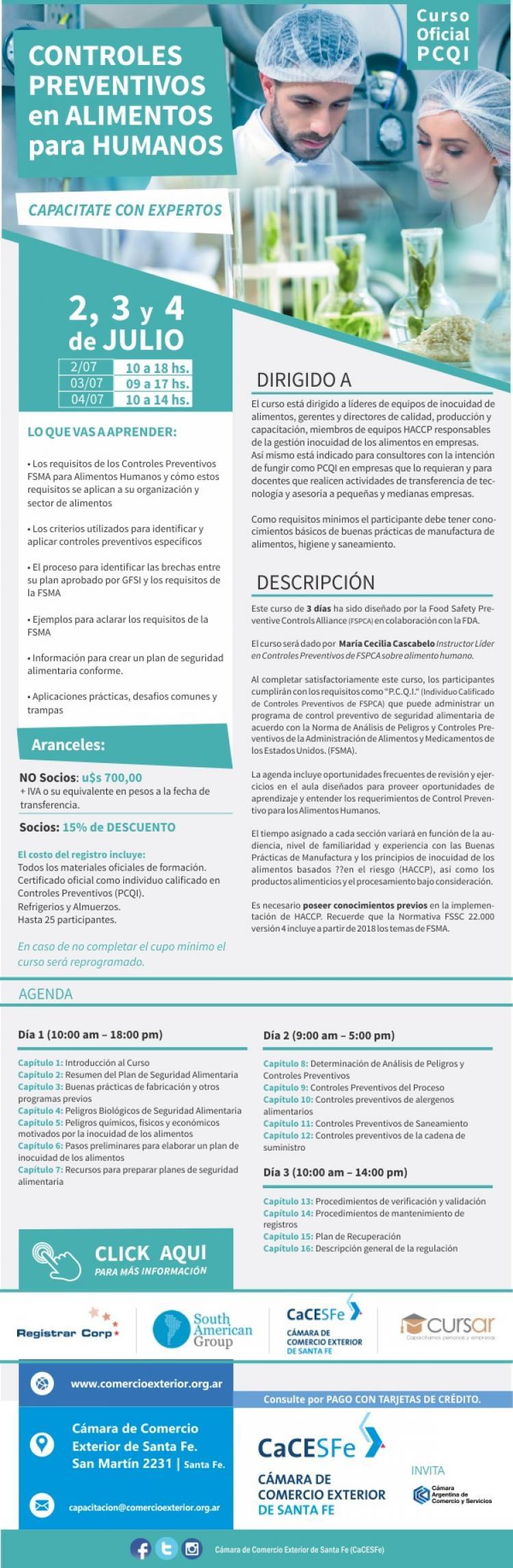 Curso-Oficial PCQI (Controles Preventivos en Alimentos para Humanos)