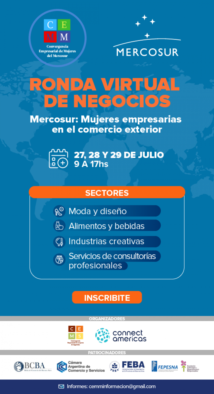 Ronda Virtual de Negocios para los Sectores de Moda y Diseno, Alimentos y Bebidas, Industrias Creativas y Servicios de Consultoria Profesional